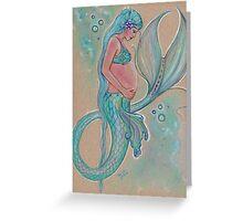 Baby Blue Pregnant Mermaid Greeting Card