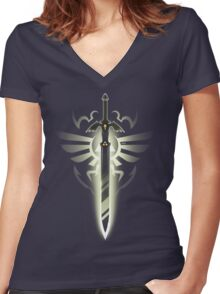 Master Sword solo Women's Fitted V-Neck T-Shirt