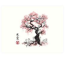Forest Spirits sumi-e  Art Print