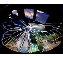 Butterfly and magnifying glass near the window Photographic Print
