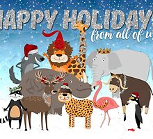 Christmas Card From All of Us - Happy Holidays Cartoon Animals by Natalie Kinnear