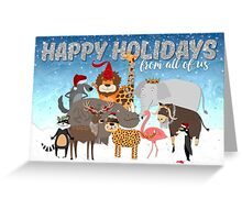 Christmas Card From All of Us - Happy Holidays Cartoon Animals Greeting Card