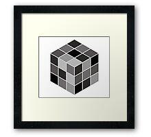 Monochrome Rubik's cube Framed Print