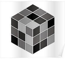 Monochrome Rubik's cube Poster