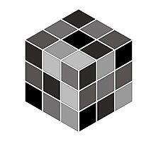 Monochrome Rubik's cube Photographic Print