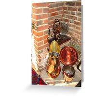 Antique Copper Utensils - Ye Olde White Hart Hotel Greeting Card
