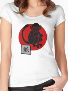 Year of The Monkey Chinese Zodiac Monkey Symbol Women's Fitted Scoop T-Shirt
