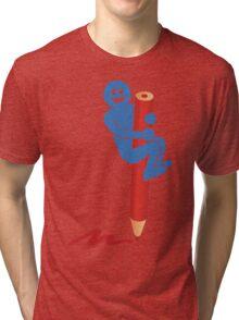 Blue man on red pencil Tri-blend T-Shirt