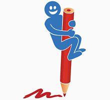 Blue man on red pencil Unisex T-Shirt