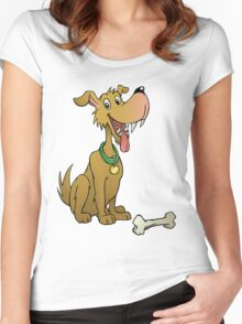Cartoon dog with bone Women's Fitted Scoop T-Shirt