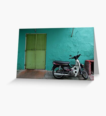 turquoise wall and scooter Greeting Card