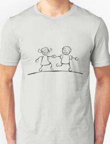 Kids running hand in hand (black and white) T-Shirt