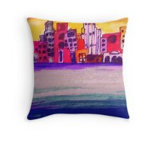 Cityscape along the water, watercolor Throw Pillow