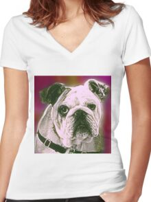 BULLDOG Women's Fitted V-Neck T-Shirt