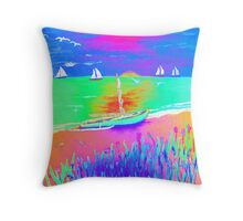 Beached Rigger Throw Pillow