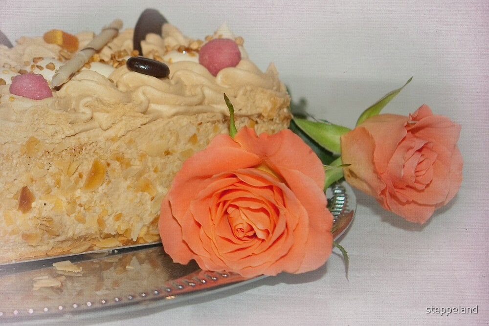 Cake and roses  by steppeland
