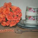 Cups and roses - invitation card 1  by steppeland