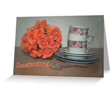 Cups and roses - invitation card 1  Greeting Card