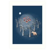 Animal's Nightlife - Bear In Forest Art Print