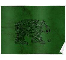 Knotwork Bear Green Poster