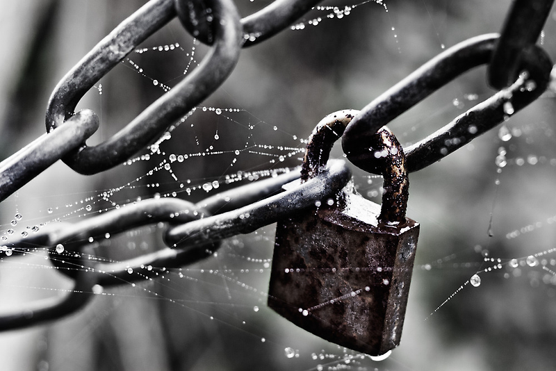 Web Lock And Two Smoking Chains... by Leon Ritchie