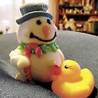 Duckie meets Mr Snowman by waxyfrog