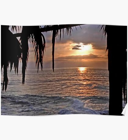 The Sun going down in California Poster