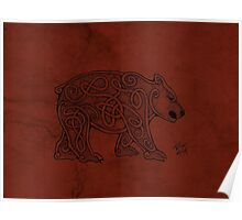 Knotwork Bear Red Poster