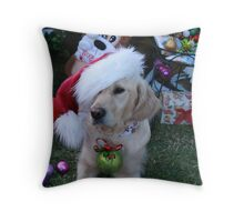 Golden Retriever with droopy Christmas Hat Throw Pillow