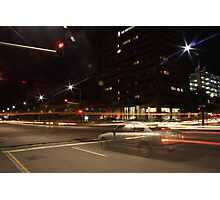 Light trails, city intersection,Adelaide Photographic Print