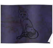 Knotwork Fox Blue Poster