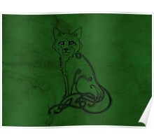 Knotwork Fox Green Poster