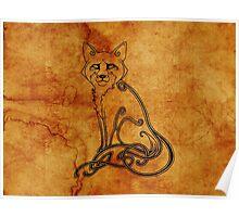 Knotwork Fox Natural Poster