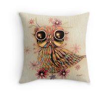 little flower owl Throw Pillow