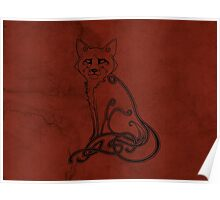 Knotwork Fox Red Poster