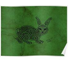Knotwork Rabbit Green Poster