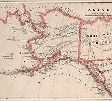 Vintage Map of Alaska (1883) by BravuraMedia