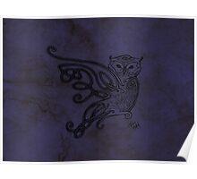 Knotwork Owl Blue Poster