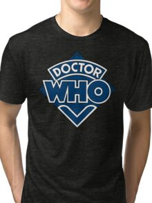 Doctor Who Diamond Logo Blue White Lines. Tri-blend T-Shirt