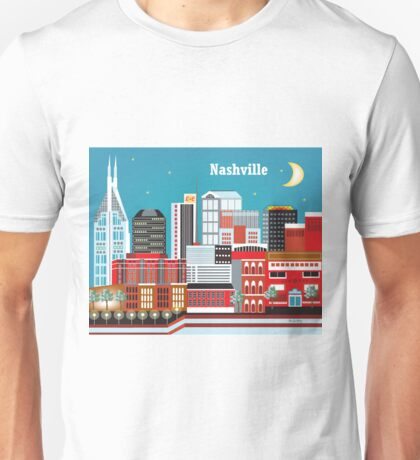 Nashville, Tennessee - Horizontal Retro Travel Themed Skyline Art by Loose Petals Unisex T-Shirt