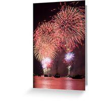 Fireworks Over the Hudson River Greeting Card