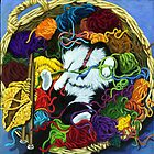 Knitter&#x27;s Helper - cat oil painting by LindaAppleArt