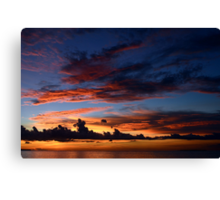 Beautiful sunset at tropical island Canvas Print