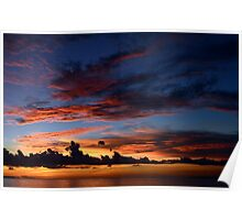 Beautiful sunset at tropical island Poster