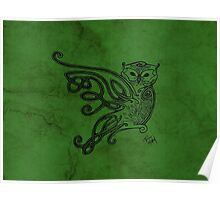 Knotwork Owl Green Poster