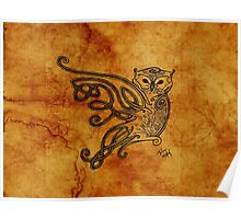 Knotwork Owl Natural Poster