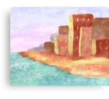 Coastal City at Sunset Canvas Print