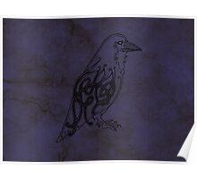 Knotwork Raven Blue Poster