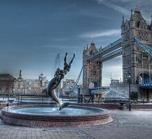 London Tower Bridge w/ Fountain by Chad Kruger
