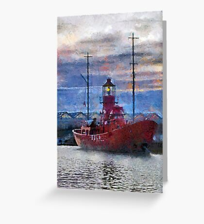 Lightship Sula, Dusk, Gloucester Docks, UK Greeting Card